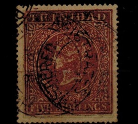 TRINIDAD AND TOBAGO - 1869 5/- FORGERY in red with bogus cancel.