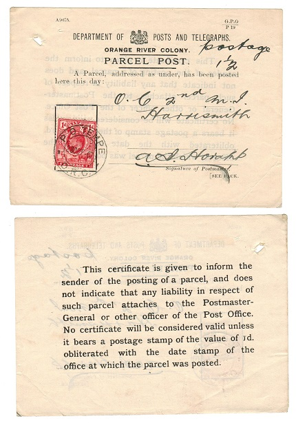 ORANGE RIVER COLONY - 1907 use of official crested PARCEL POST receipt at TEMPE.
