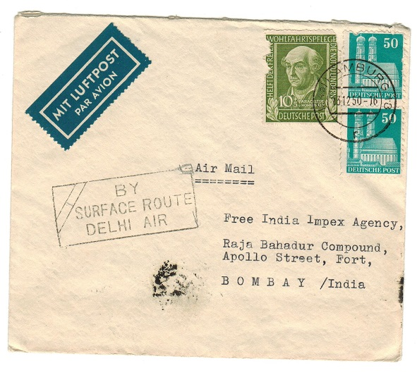 INDIA - 1950 BY/SURFACE ROUTE/DELHI AIR h/s on inward cover from Germany.