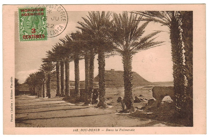 MOROCCO AGENCIES - 1922 postcard use with scarce 3c on 1/2d (SG 191) used at CASABLANCA.