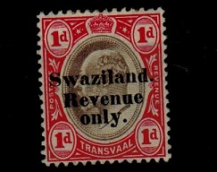 SWAZILAND - 1904 1d black and red SWAZILAND/REVENUE adhesive mint.