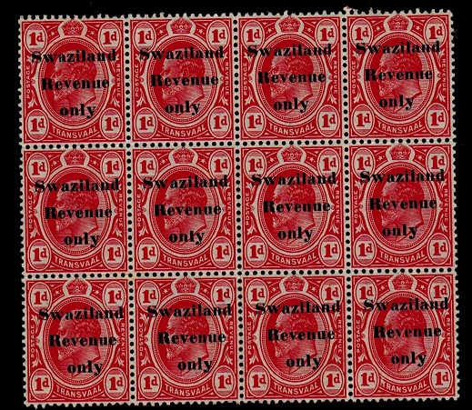 SWAZILAND - 1909 1d red SWAZILAND/REVENUE in a mint block of 12.