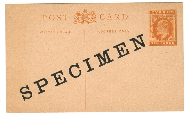 CYPRUS - 1907 10 paras orange PSC unused with SPECIMEN applied diagonally in black. H&G 14.