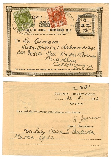 CEYLON - 1932 use of black ON/H.M./S card uprated to USA from COLOMBO.
