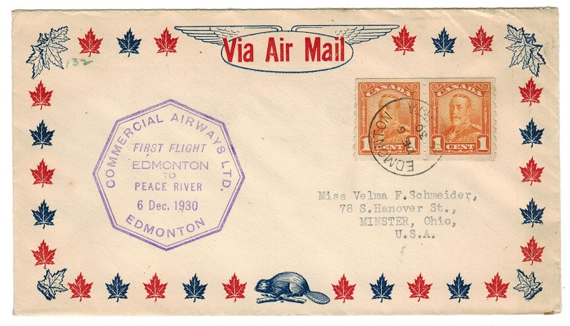CANADA - 1930 (DE.6.) first flight cover with 1c (Imperf x 8) pair and black label on reverse.