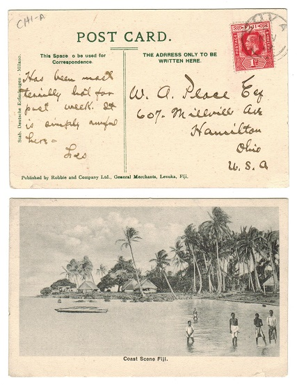 FIJI - 1912 1d rate postcard to USA used at SUVA.
