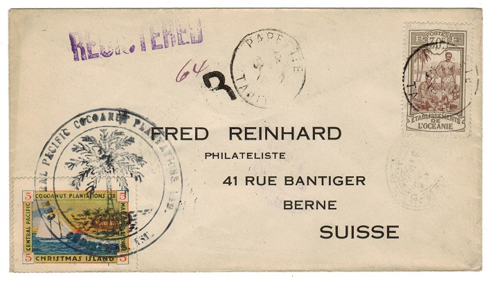 CHRISTMAS ISLAND - 1918 5c local and 30c Polyenesia combination cover to Switzerland.