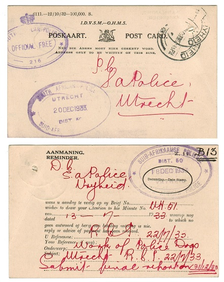 SOUTH AFRICA - 1933 OHMS reminder postcard sent locally with OFFICIAL FREE h/s.
