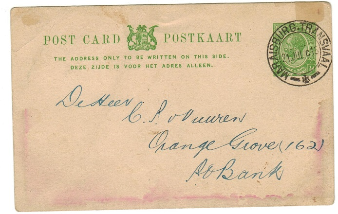 SOUTH AFRICA - 1913 1/2d green PSC addressed locally used at MARAISBURG TRANSVAAL. H&G 1.