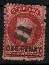 ST.HELENA - 1864 1d lake cancelled by
