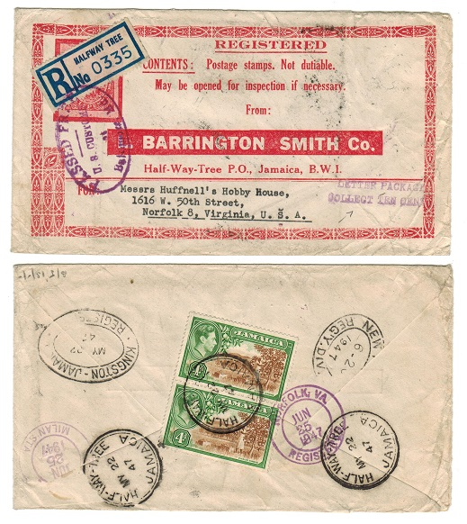 JAMAICA - 1947 cover to USA with 4d pair tied HALFWAY TREE.