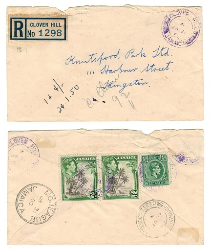 JAMAICA - 1950 4 1/2d rate registered local cover used at CLOVER HILL.