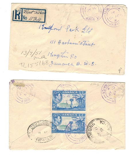 JAMAICA - 1951 registered 6d rate local cover used at FLINT RIVER.