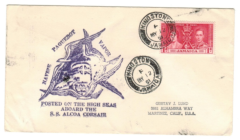 JAMAICA - 1951 NAVRE PAQUEBOT VAPOR maritime cover to USA with KINGSTON/F cds.