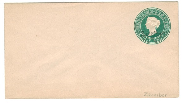 ZANZIBAR - 1895 1/2a green PSE unused with overprint in black.  H&G 1a.