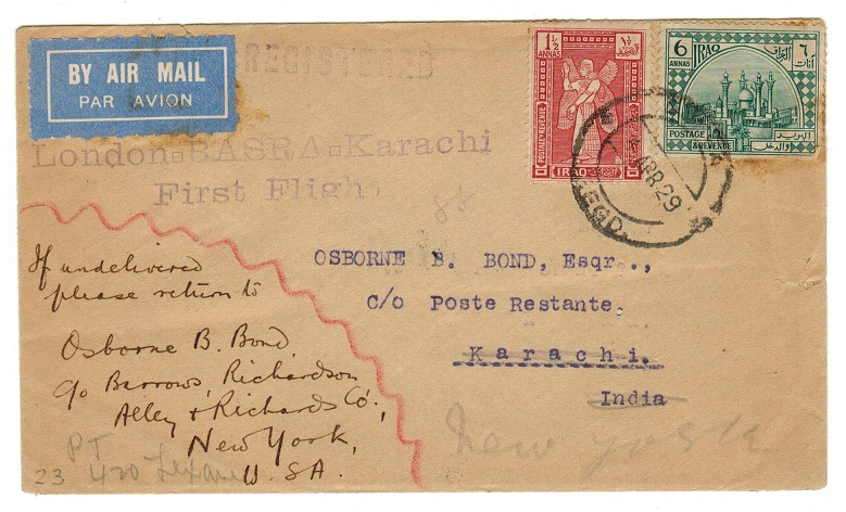 IRAQ - 1929 registered first flight cover to India.