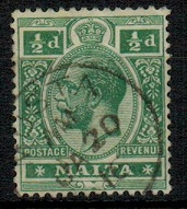 MALTA - 1914 1/2d green cancelled MUSTA.  SG 71.