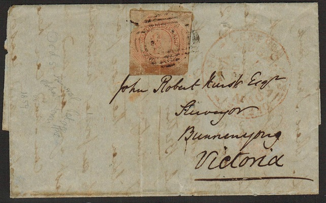 AUSTRALIA (Tasmania) - 1854 entire bearing 4d
