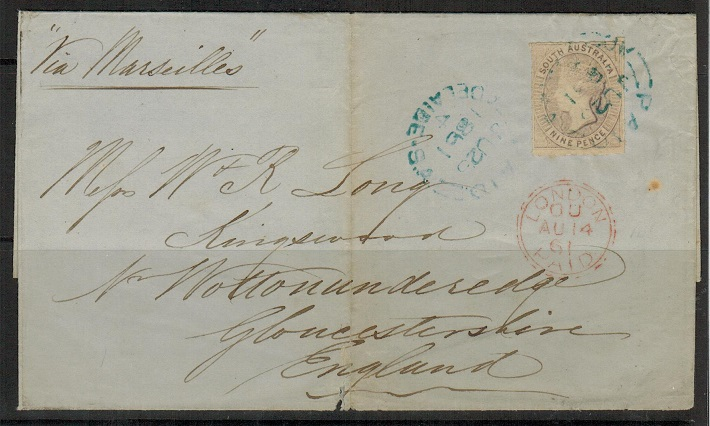 AUSTRALIA (South Australia) - 1861 9d rate cover to UK.