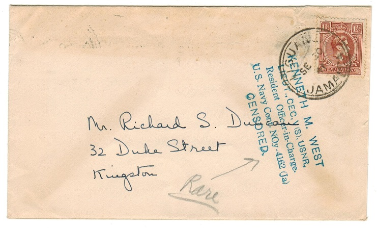 JAMAICA - 1941 KENNETH M WEST resident naval examination cover used locally from LIGUANEA.