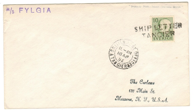 MOROCCO AGENCIES - 1953 SHIP LETTER/TANGIER cover to USA.