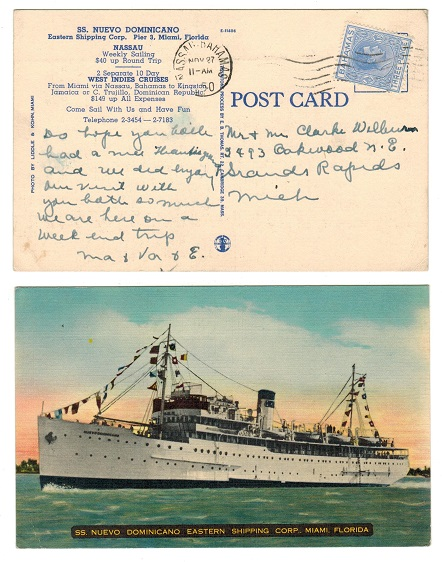 BAHAMAS - 1950 3d rate postcard to USA showing