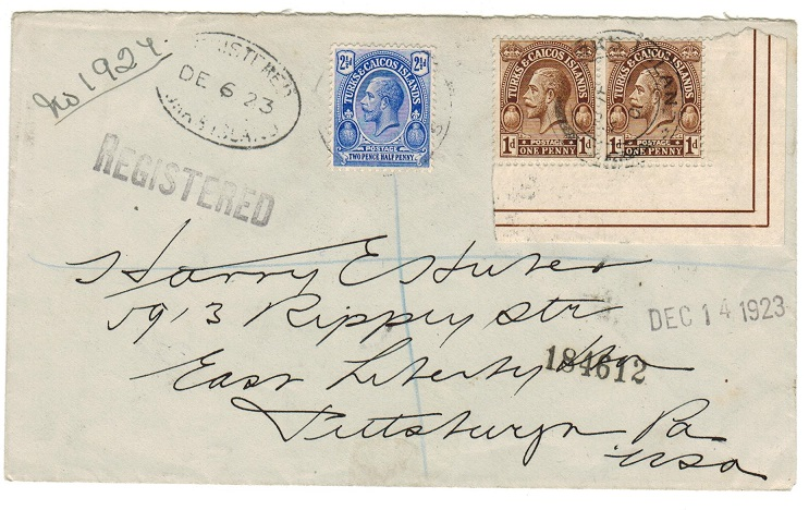 TURKS AND CAICOS IS - 1923 4 1/2d rate registered cover to USA.