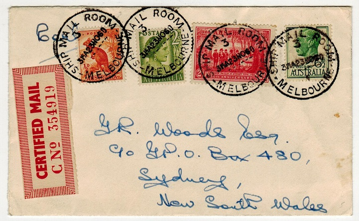 AUSTRALIA - 1960 CERTIFIED MAIL cover to New South Wales.