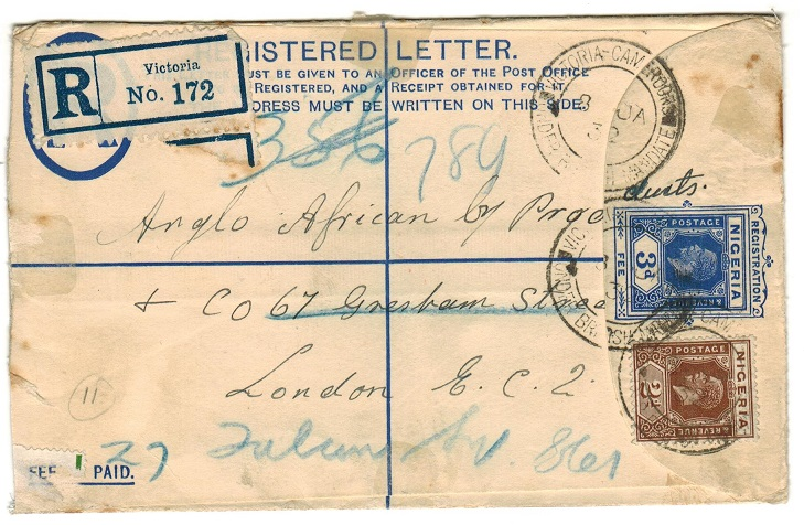 CAMEROONS - 1923 3d blue RPSE of Nigeria uprated with 2d adhesive at VICTORIA/CAMEROONS.