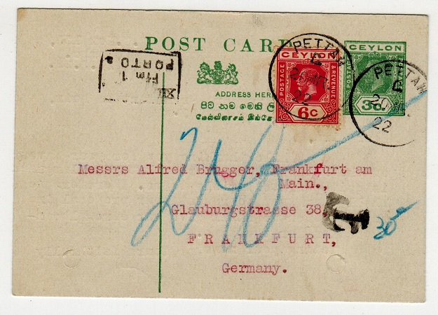 CEYLON - 1920 3c green PSC to Germany uprated with 6c adhesive at PETTAH.  H&G 55.