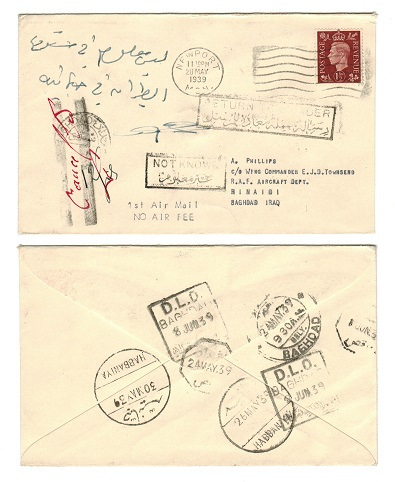 IRAQ - 1939 NOT KNOWN-RETURN TO SENDER incoming cover from UK.