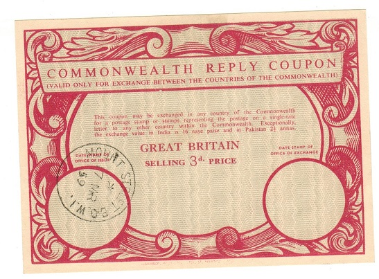 GREAT BRITAIN - 1959 3d red on cream COMMONWEALTH REPLY COUPON.