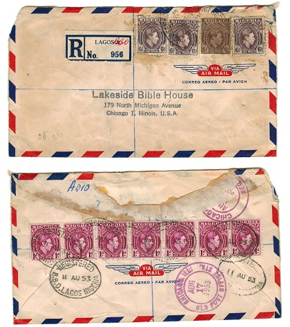 NIGERIA - 1953 registered cover to USA with KGVI 6d stationery