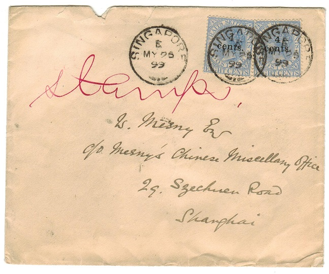 SINGAPORE - 1899 4c on 8c surcharge pair used on cover to China.