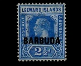 BARBUDA - 1922 2 1/2d bright blue with INVERTED WATERMARK. Very fine mint.  SG 4w.