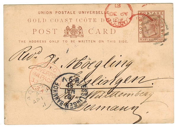 GOLD COAST - 1880 1 1/2d reddish brown PSC to Germany used at ACCRA.  H&G 1.
