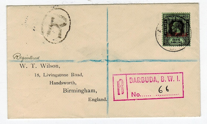 BARBUDA - 1924 registered cover to UK with 1/- overprint tied BARBUDA.