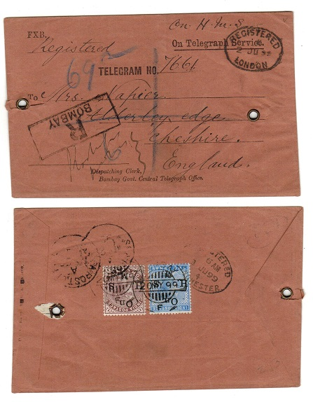 INDIA - 1889 ON TELEGRAPH SERVICE envelope to UK used at BOMBAY.