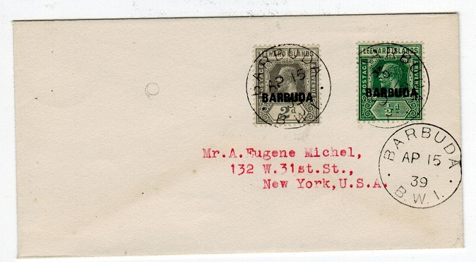 BARBUDA - 1939 cover to USA with
