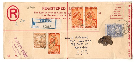 BARBADOS - 1938 3d blue RPSE uprated to USA used at ST.LAWRERENCE/BARBADOS.  H&G 14a.
