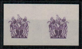 SOUTHERN RHODESIA - 1952 IMPERFORATE PLATE PROOF pair of the REVERNUE vignette in violet.