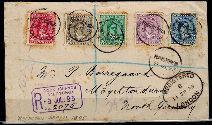 COOK ISLANDS - 1895 registered cover to Germany used at RAROTONGA.