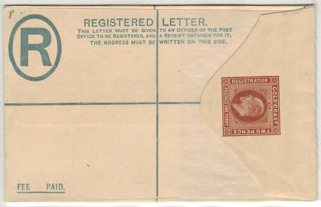GOLD COAST - 1904 2d+1d brown RPSE (size F) unused.  H&G 8.