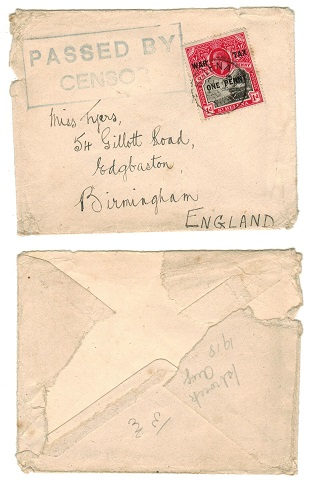 ST.HELENA - 1918 censored cover to UK with 1d