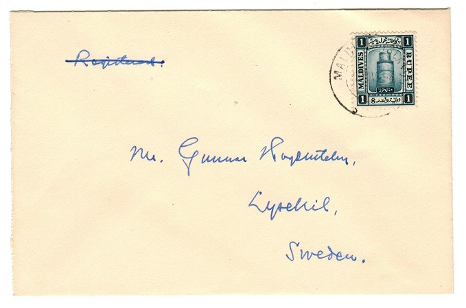 MALDIVE ISLANDS - 1954 cover to Sweden with 1d deep blue tied MALDIVE ISLANDS.
