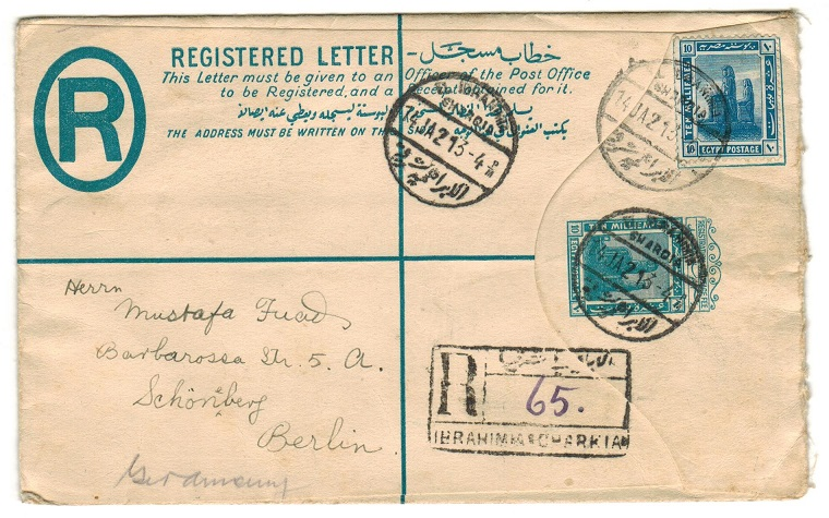 EGYPT - 1913 10m blue RPSE uprated to Germany and used at EL EBRAHIM/SWARDIA.  H&G 2.
