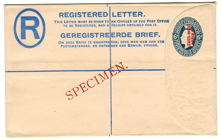 SOUTH WEST AFRICA - 1923 6d blue RPSE (size G) struck SPECIMEN in red.  H&G 4a.