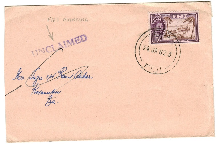 FIJI - 1962 UNCLAIMED handstamp on local BA/FIJI cover.