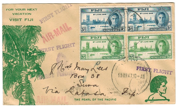 FIJI - 1947 internal first flight cover.