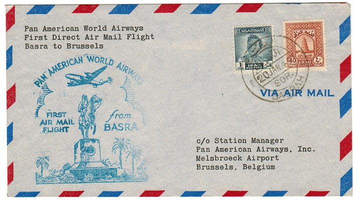 IRAQ - 1949 first flight cover to Belgium.